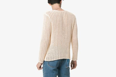 Relaxed Fit Knitted Net Jumper