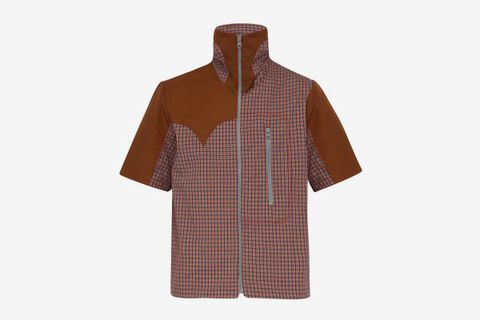 Checked zip-through short-sleeved cotton shirt