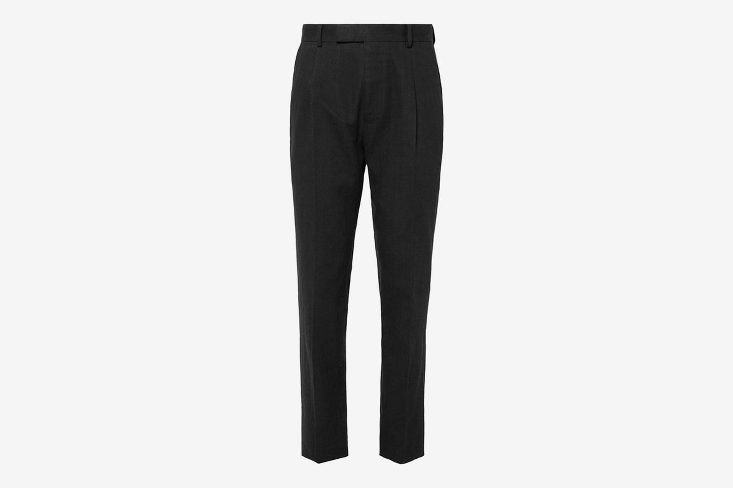 Tapered Pleated Herringbone Linen Suit Trousers