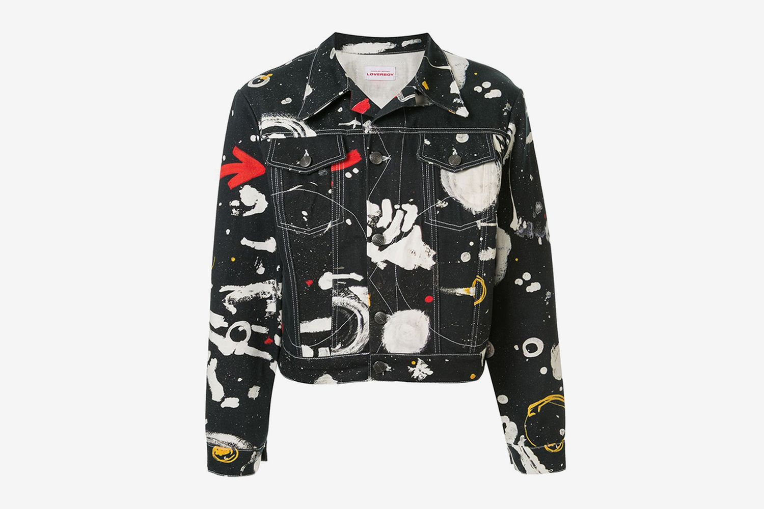 Cropped Asteroids Print Denim Jacket