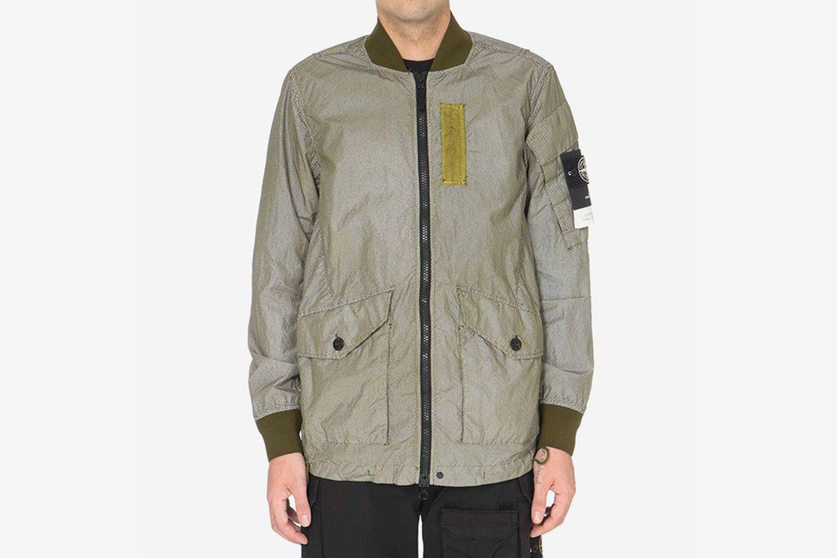 Reflective Long Bomber Jacket