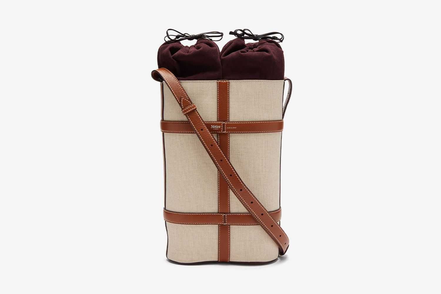 Linen and Leather Double Wine Bottle Holder