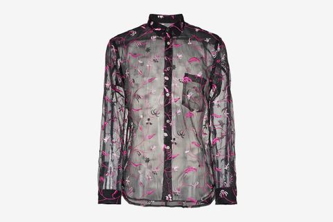 Floral Embroidered Poly Sheer Shirt