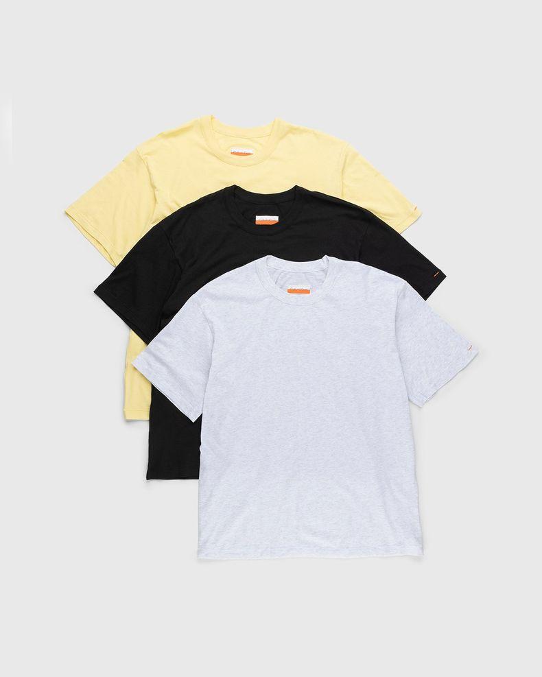 Heron Preston for Calvin Klein - Mens LightWeight T-Shirt 3 Pack Pale Yellow Heather Black