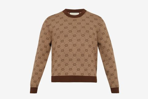 Jacquard Cropped Wool Blend Sweater