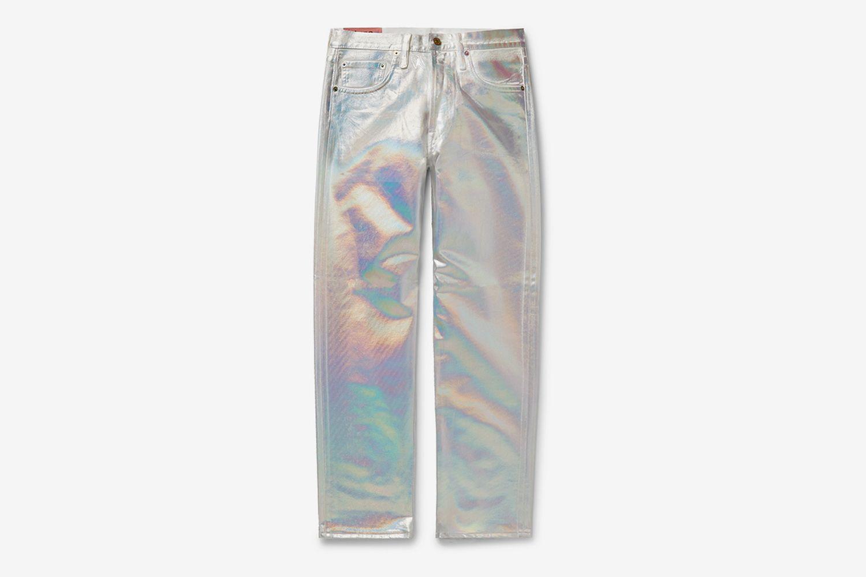 Slim-Fit Holographic Coated-Denim Jeans