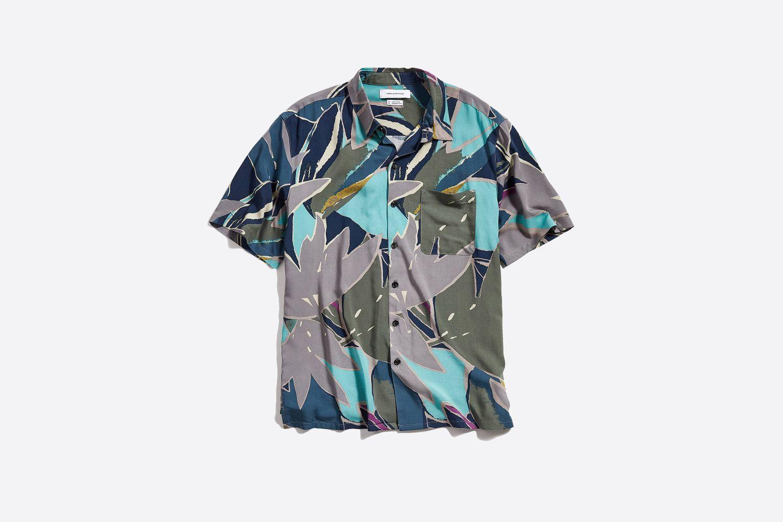 '80s Print Rayon Short Sleeve Button-Down Shirt