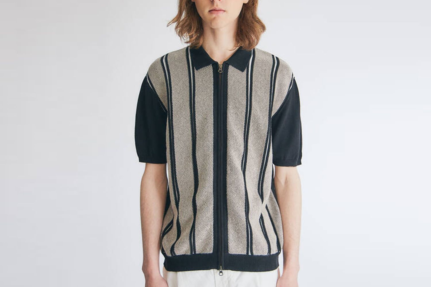 Short Sleeve Zip Knit Shirt Jacquard