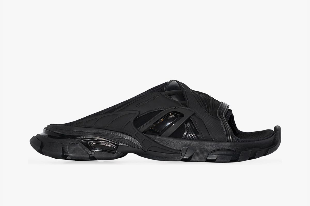 balenciaga track slides triple black