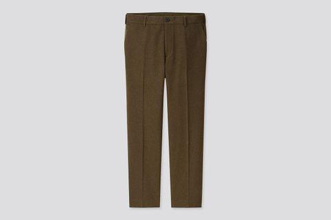Wool-Blend Flat-Front Pants