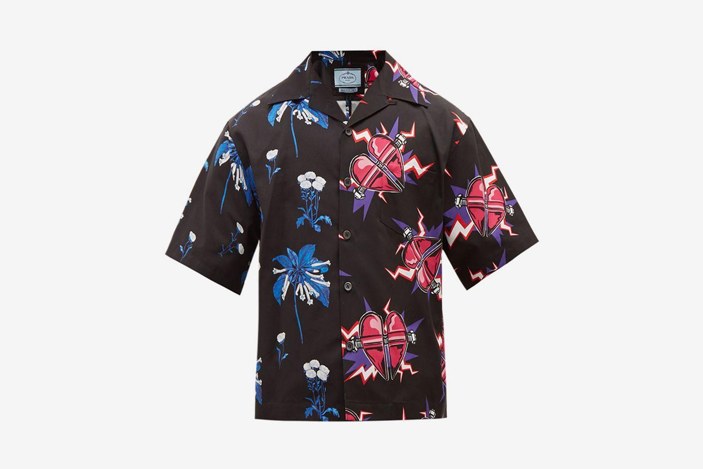 Flower and Heart-Print cotton Shirt