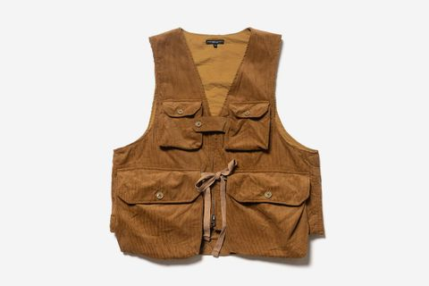 Cotton 11W Corduroy Game Vest Chestnut