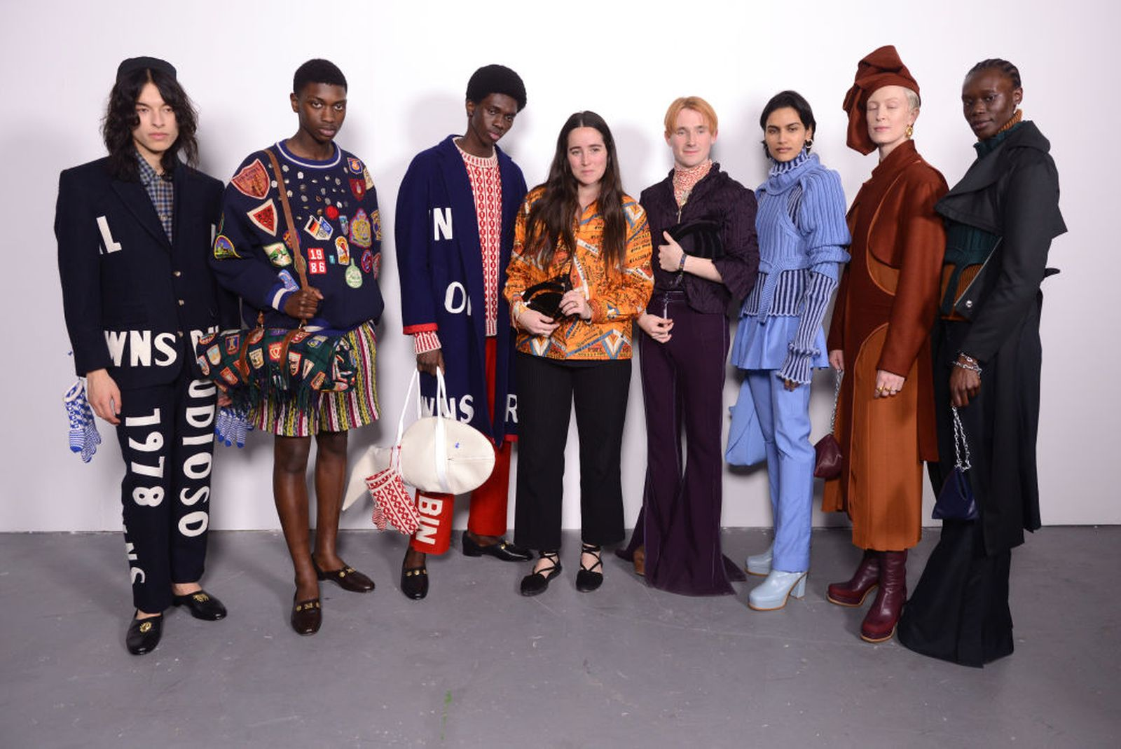 LONDON, ENGLAND - FEBRUARY 17: Winners Bode designer, Emily Adams Bode and designer Richard Malone (C) with models backstage at the International Woolmark Prize 2020 during London Fashion Week February 2020 at Ambika P3 on February 17, 2020 in London, England. (Photo by Joe Maher/Getty Images for Woolmark)