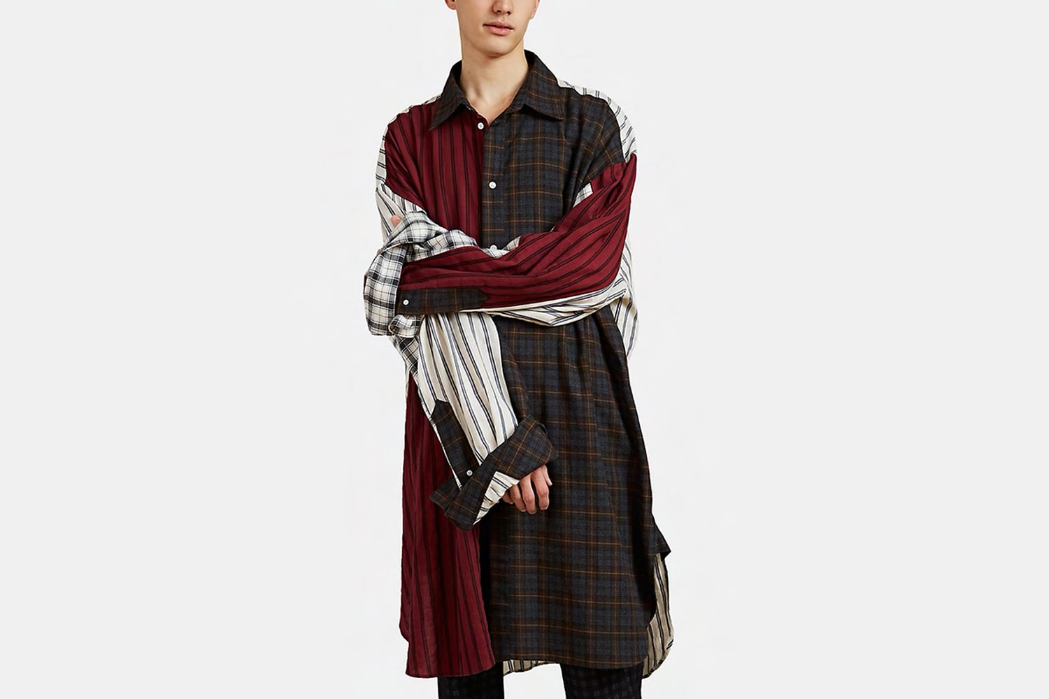 Oversized Patchwork Flannel Shirt