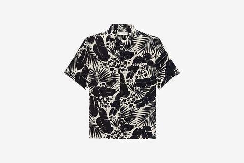 Shark-Collar Shirt in Tropical Print