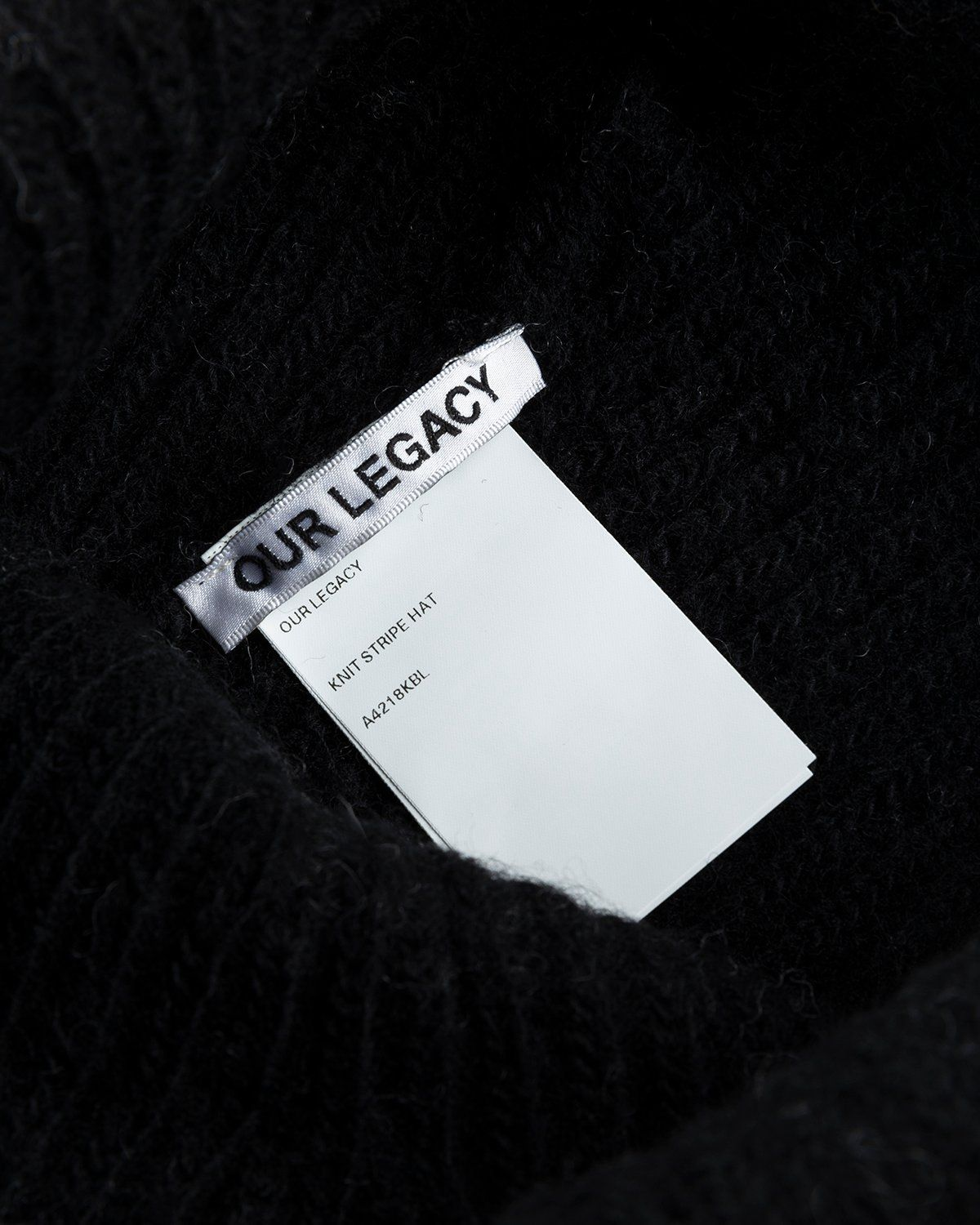 Our Legacy – Knitted Stripe Hat Black Ivory Wool - Image 3
