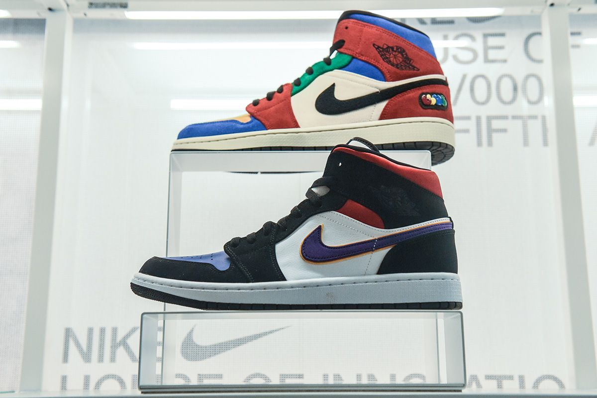Nike sneakers are seen on display at the Nike flagship store on 5th Ave