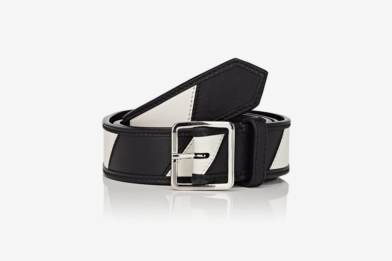 Striped Leather Belt