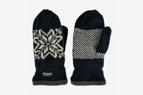 Snowflake Knit Mittens With Warm Thinsulate Fleece Lining