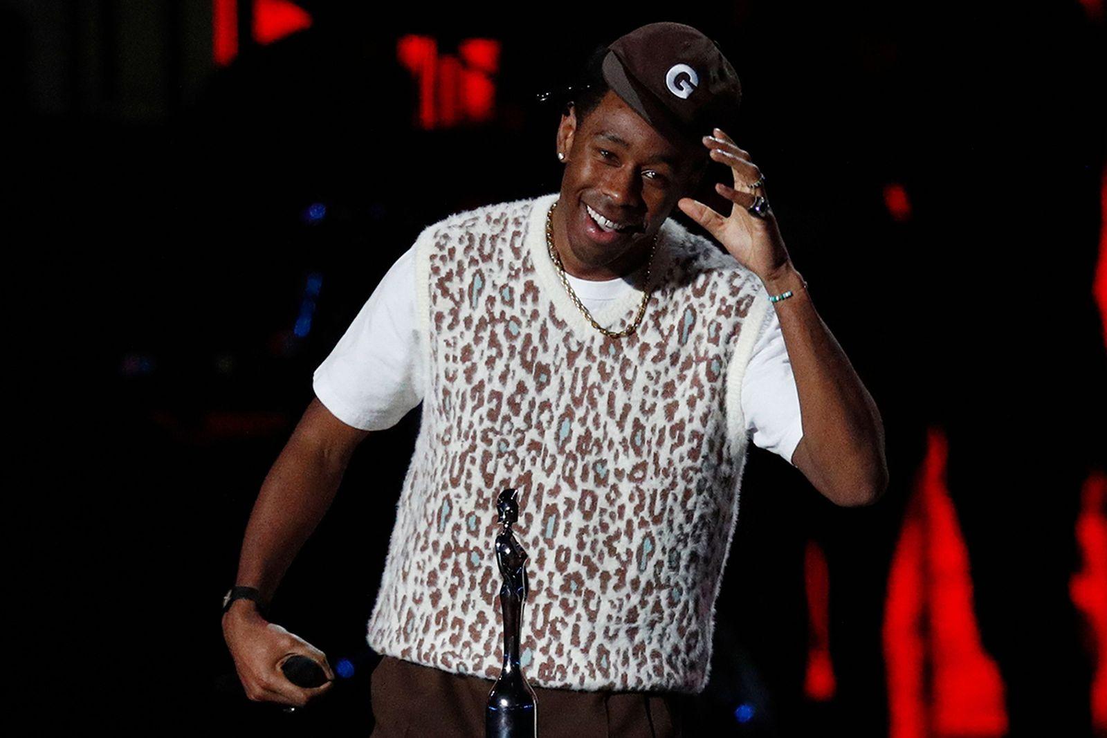Tyler the Creator smiling GOLF WANG hat