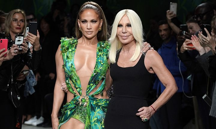 Jennifer Lopez Donatella Versace green Versace dress Milan Fashion Week