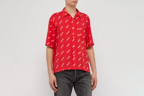 Logo-Print Short-Sleeved Crepe Shirt