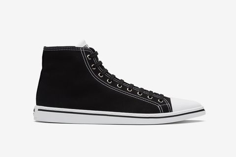 Cotton Gabardine Pointy High-Top Sneakers