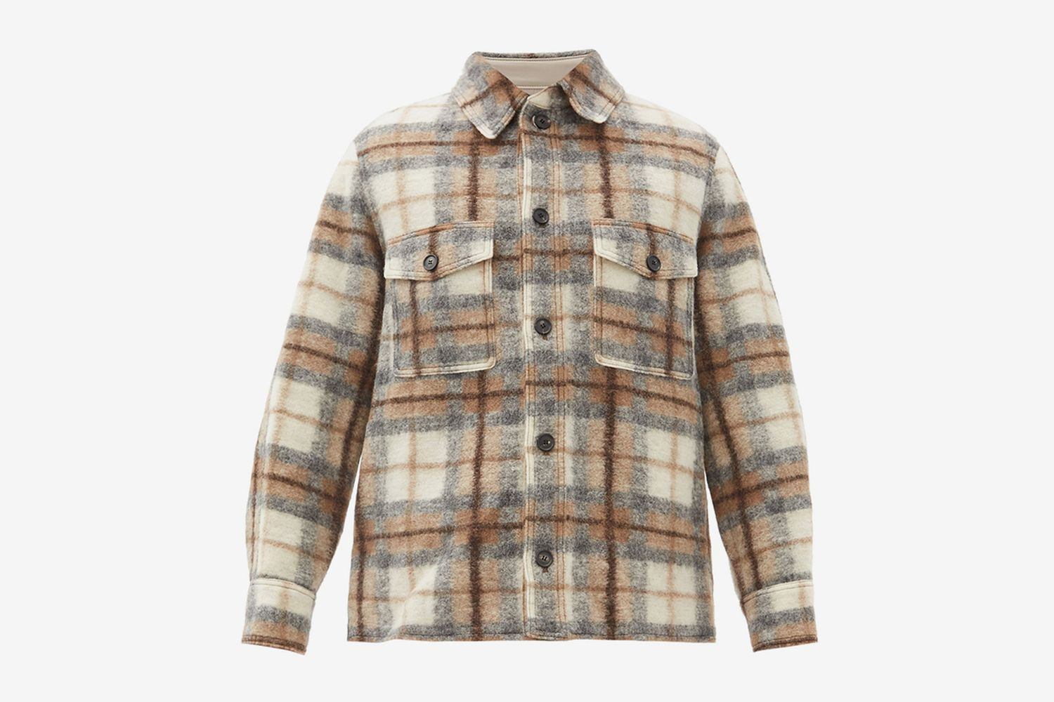 Gervon Plaid Wool-Blend Overshirt