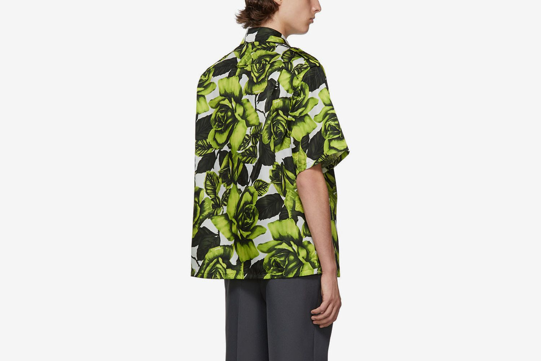 Big Rose Print Bowling Shirt