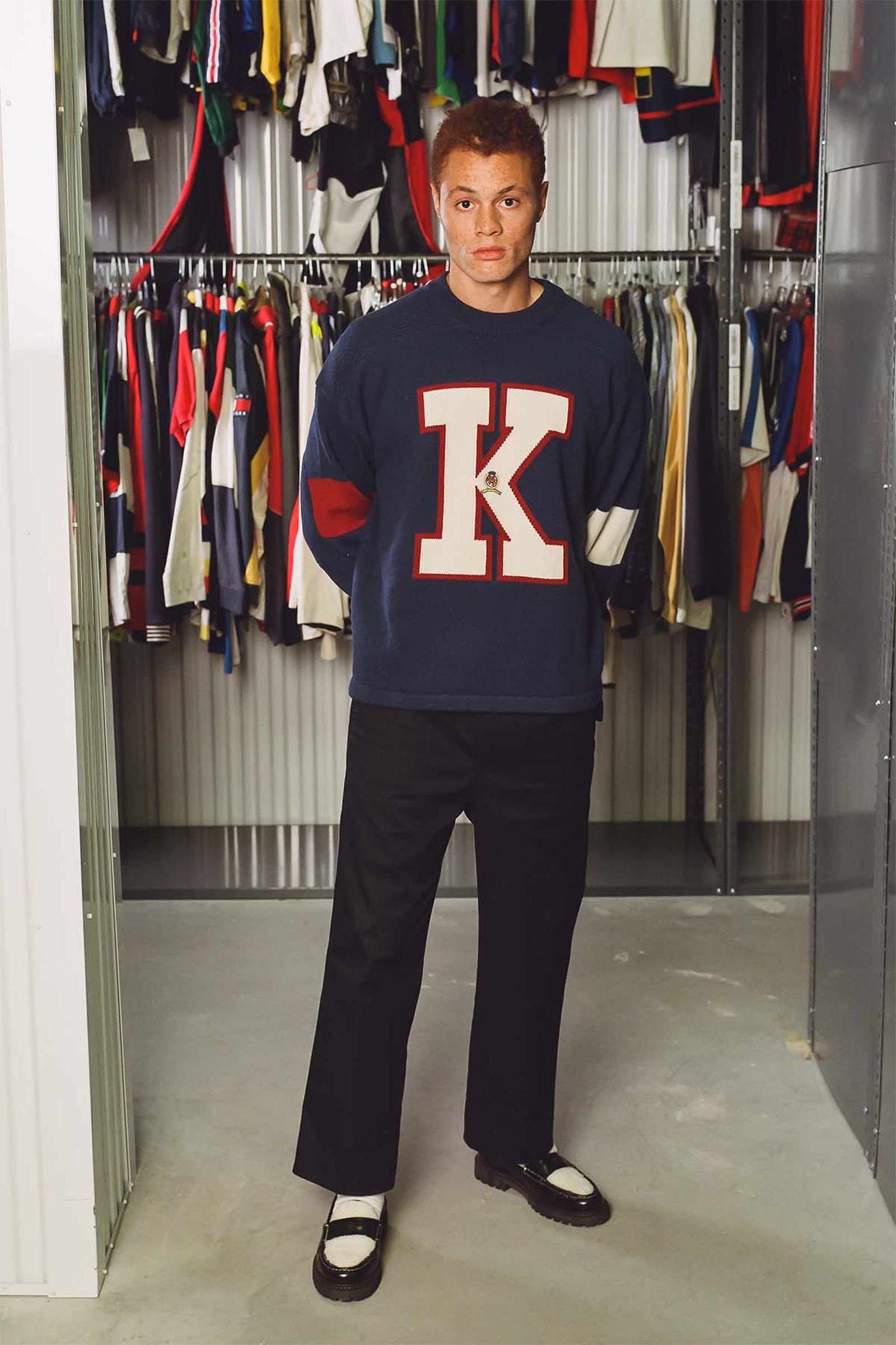 Tommy Hilfiger x KITH Wool Varsity K Sweater (FW18), Hilfiger Collection Men's Relaxed Pleated Chino and Boat Shoes (Fall 2020)
