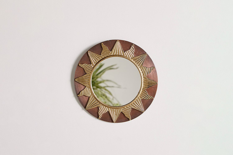 Sunburst Metal Round Wall Mirror