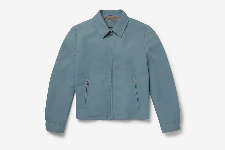 Matte-Leather Blouson Jacket