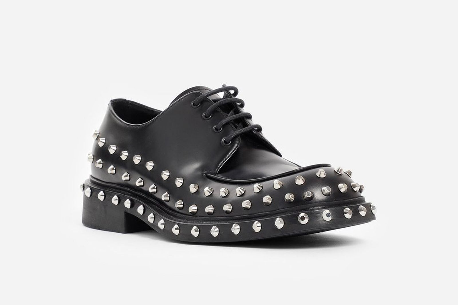 prada black studded derby shoes release date price