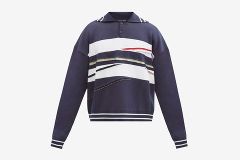 Slashed Polo Sweater