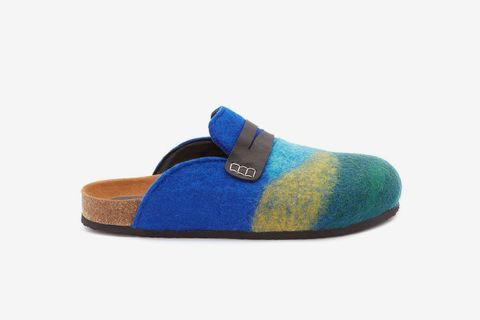 Striped Leather-Trimmed Felt Slippers