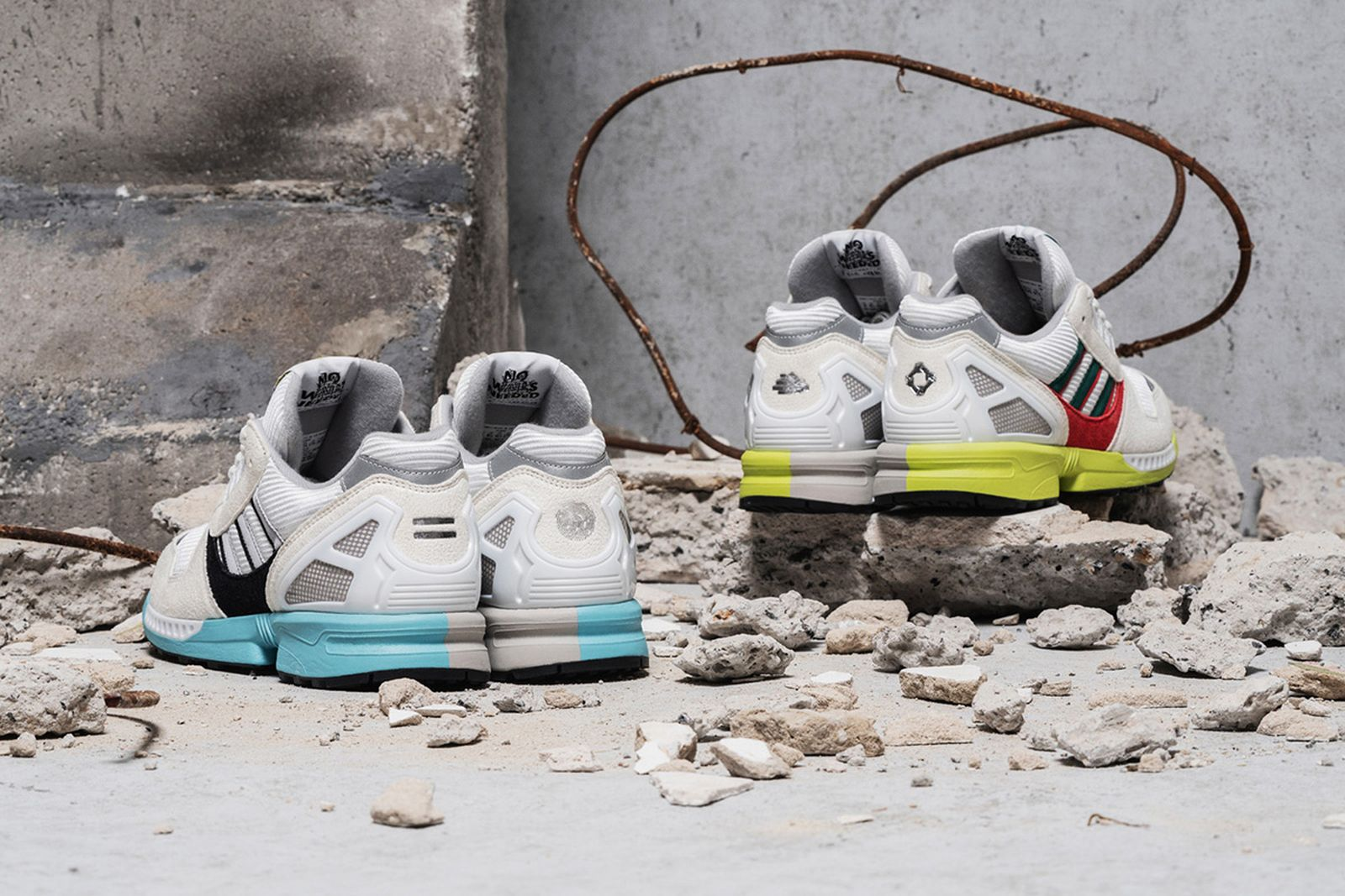 Overkill adidas ZX8000 Berlin Wall Anniversary Pack white sneakers