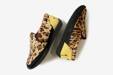 Leopard Fur Smile Heel Slip-Ons