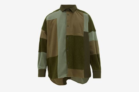 Oversized Patchwork Fleece Overshirt