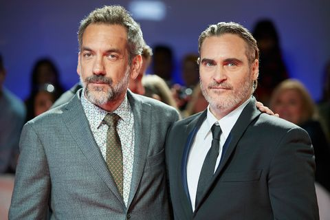 Todd Phillips and Joaquin Phoenix on red carpet