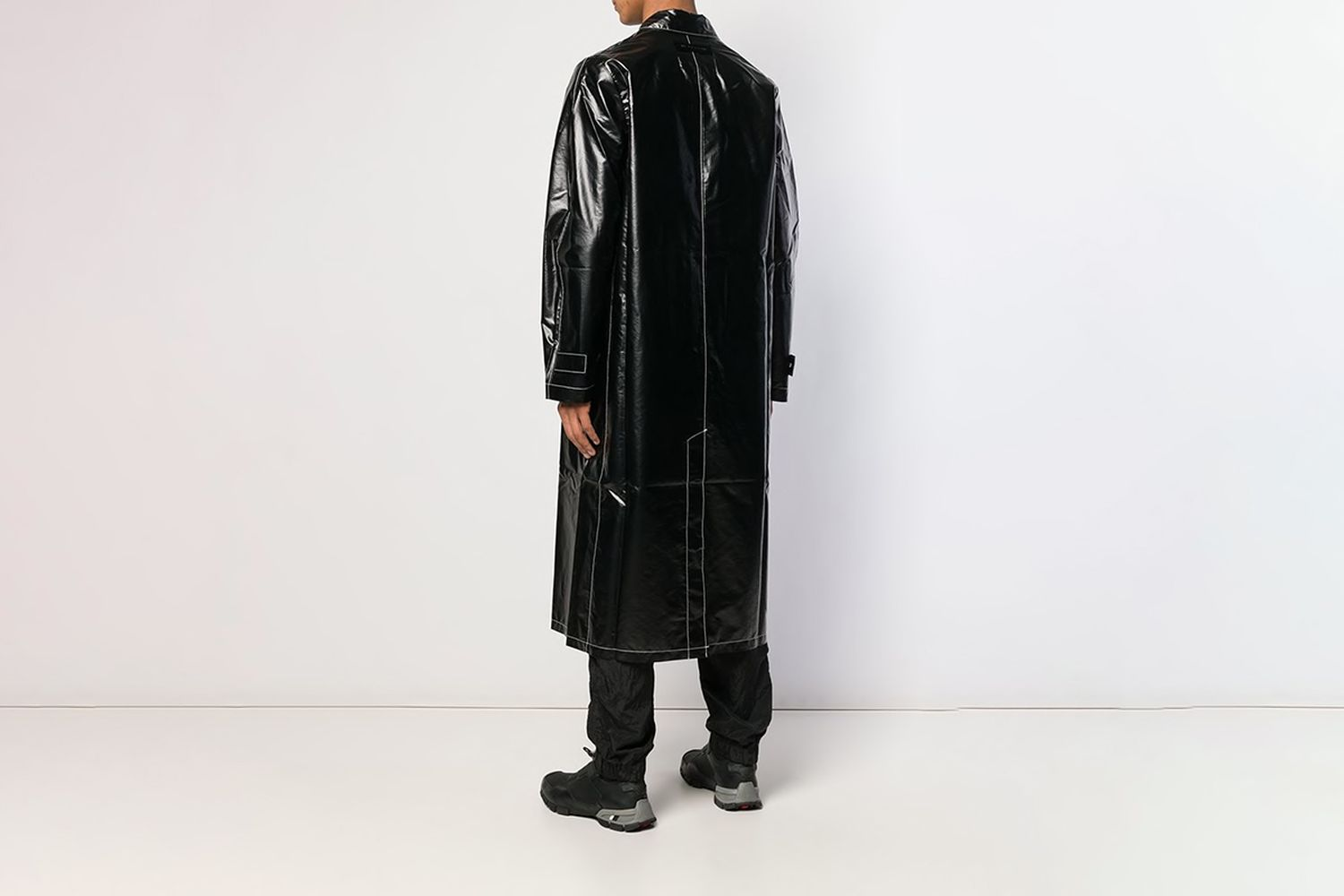 Mid-length Faux Leather Trench Coat