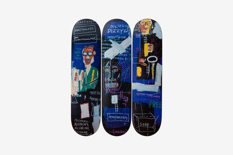 Jean Michel Basquiat: Horn Players Triptych skateboard