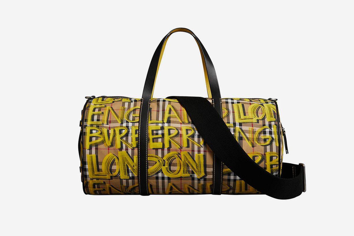 Graffiti Print Check Bag