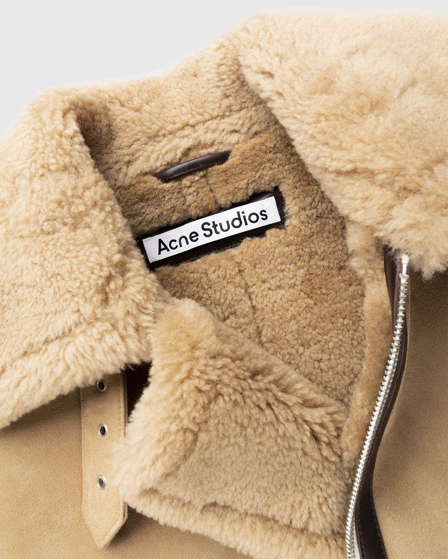 Acne Studios – Shearling Leather Jacket Almond Beige - Image 6