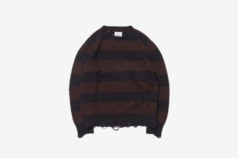 Grunge Crew Neck Striped Sweater
