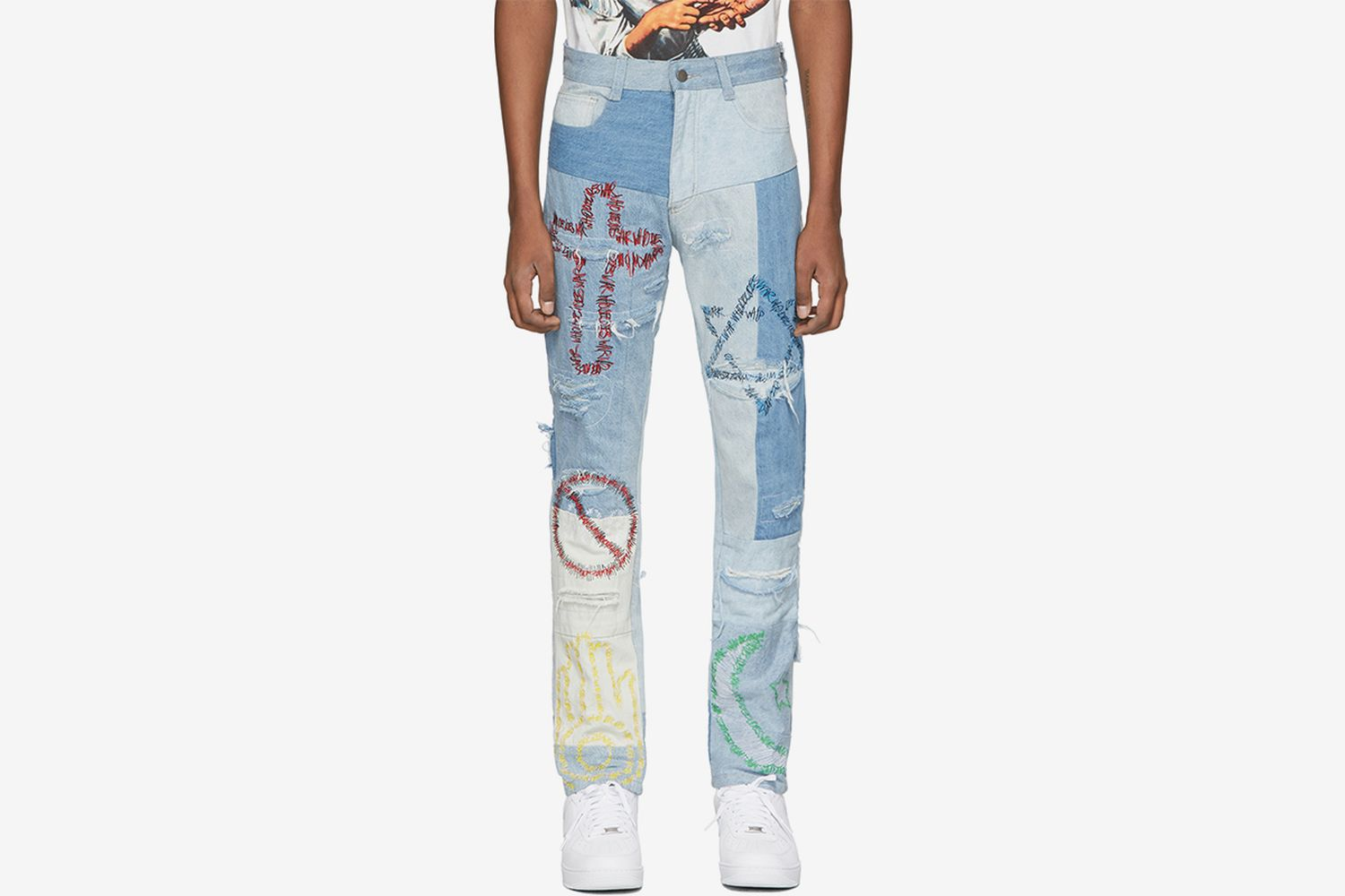 Blue Unified Embroidered Jeans