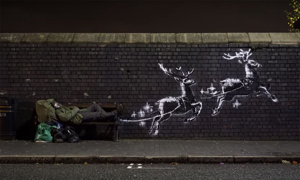Banksy Addresses Homelessness in the UK With Reindeer Mural