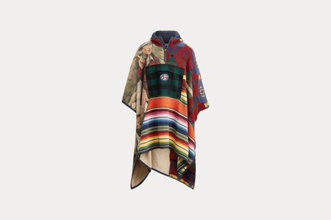 Patchwork Hooded Poncho