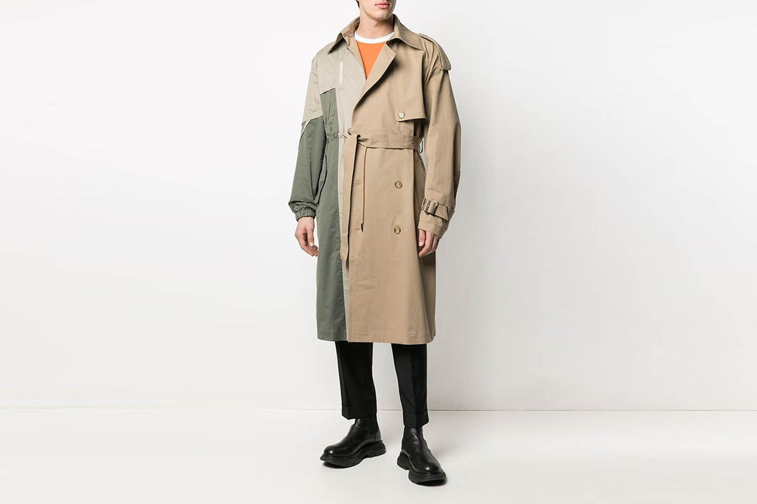 Panelled Double-Breasted Trench Coat