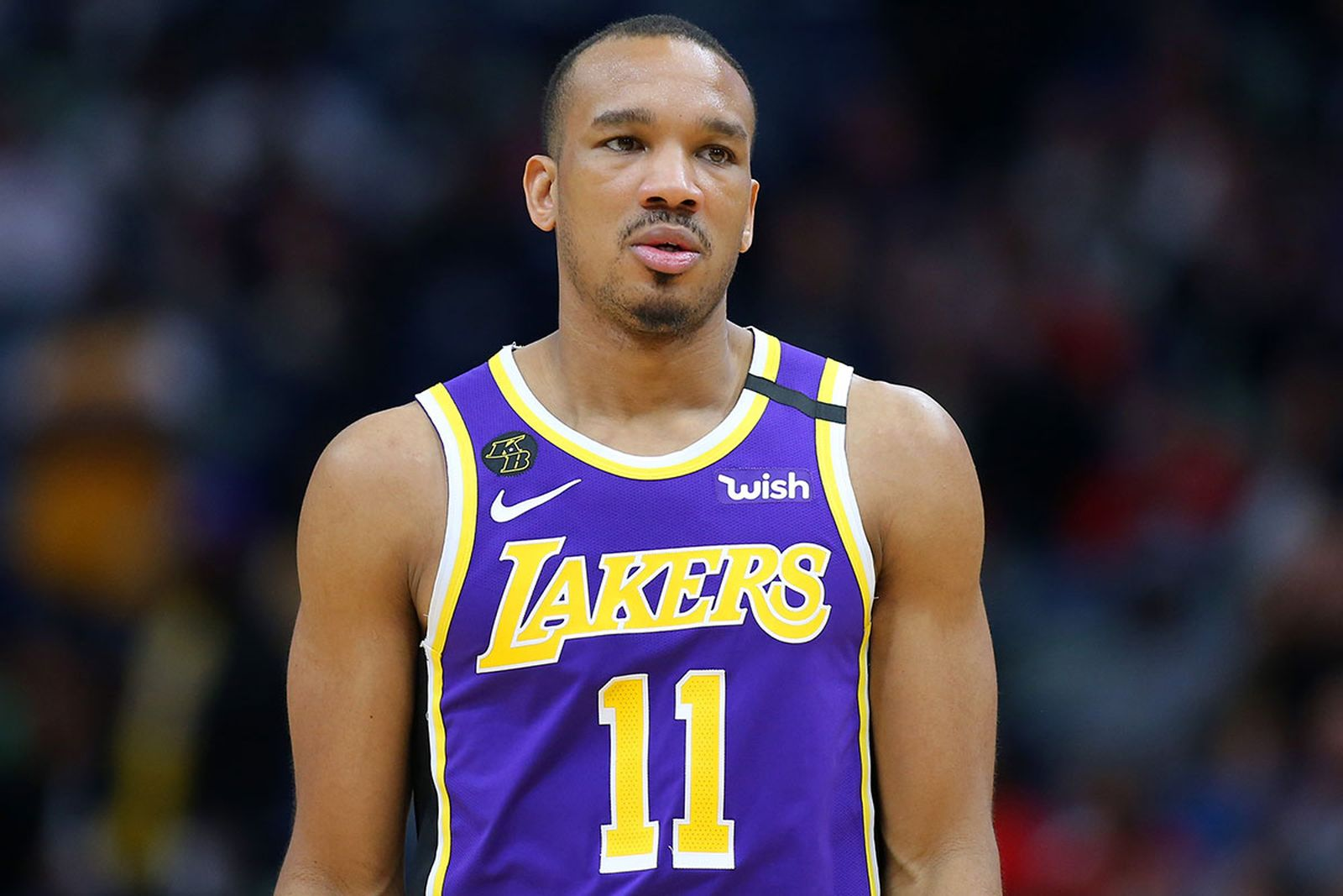Avery Bradley #11 of the Los Angeles Lakers reacts against the New Orleans Pelicans during the second half at the Smoothie King Center