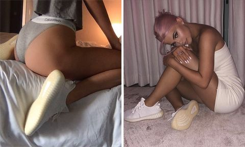 kendall kylie jenner adidas yeezy boost 350 v2 triple white campaign kendall jenner
